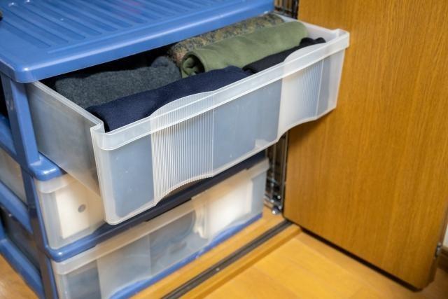 衣装ケースに収納されている衣類