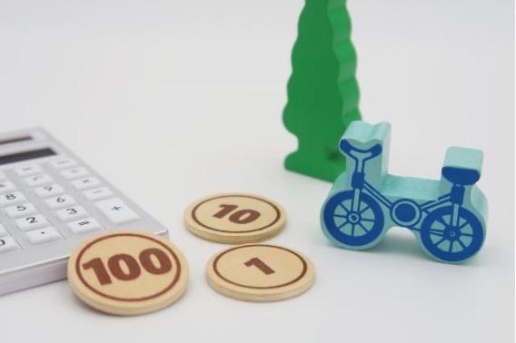 電卓 お金のモチーフ 自転車のモチーフ